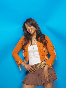 Sameera Reddy in orange jacket