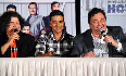 Sajid Khan Akshay Kumar Rishi Kapoor addressing the media at film Housefull 2 first theatrical promo launch at Cinemax in Mumbai Photo