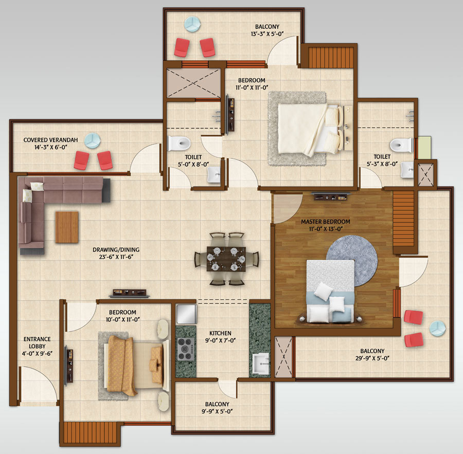 2bhk Study Room Ace Aspire Floor Plan Ace Aspire On