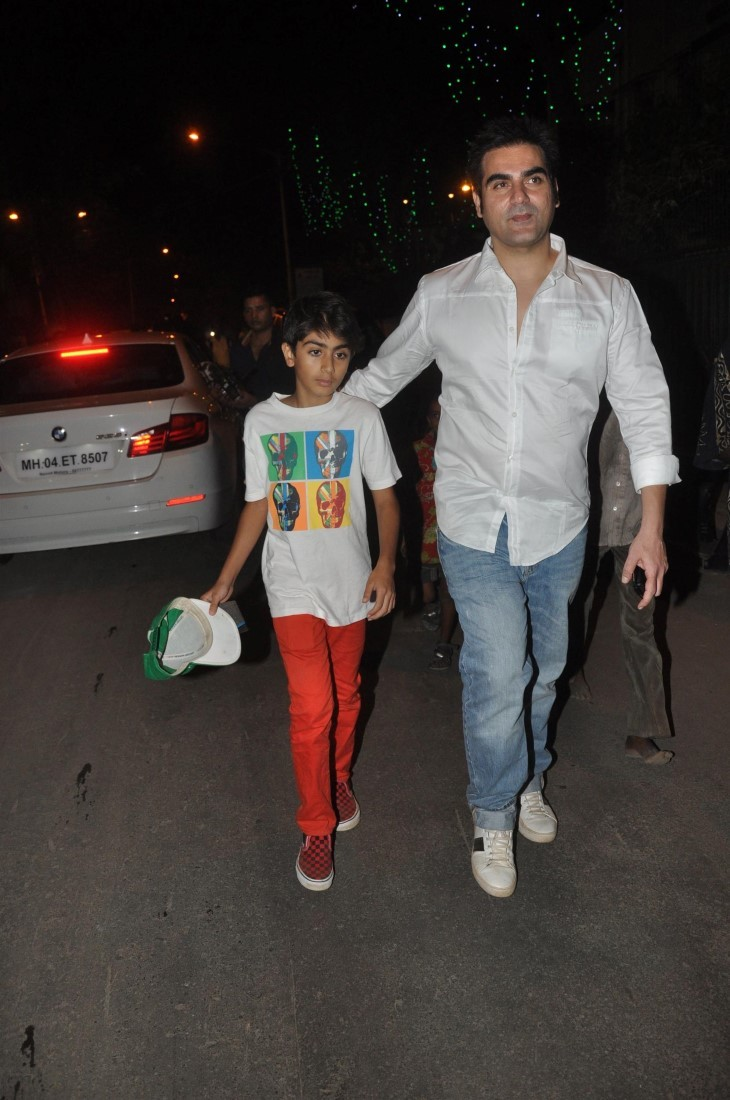 Arbaaz Khan with son Arhaan Khan at the midnight mass for ...