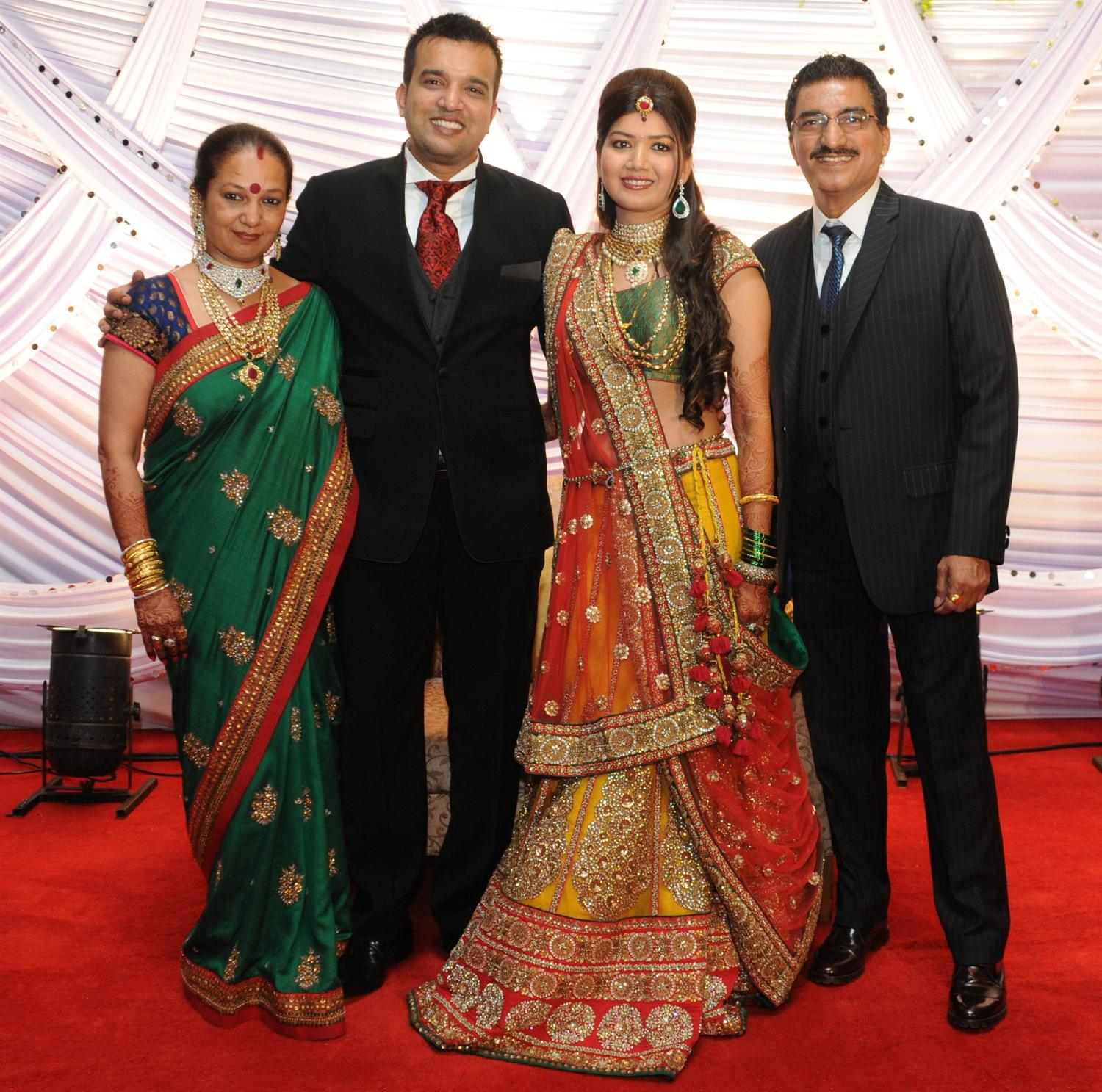 Wedding Poses With Parents: Suraj Godambe Posing With His Wife And Parents Bharat And