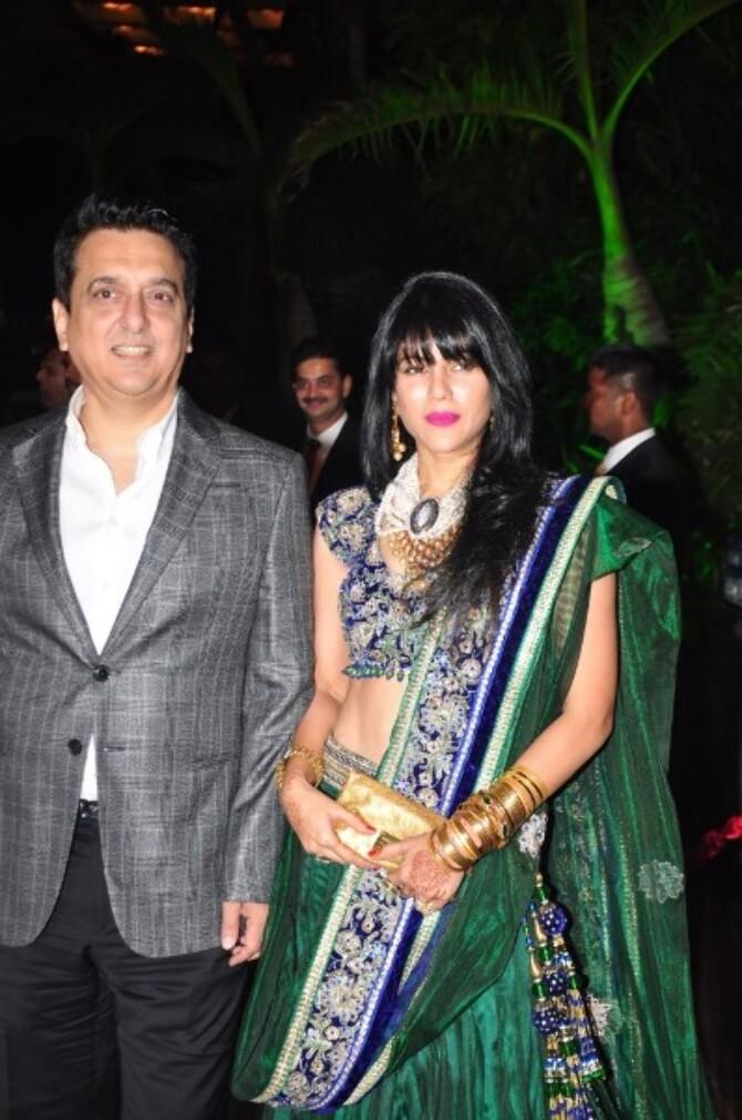 Sajid Nadiadwala with wife Wardha Nadiadwala at wedding ...