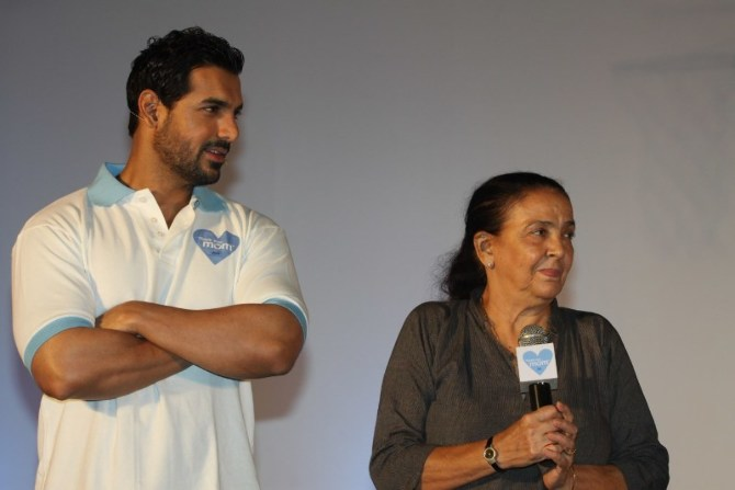 John Abraham with his mother Firoza Irani at P G ...