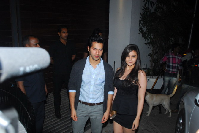 Varun Dhawan with Alia Bhatt at house warming party of Imran Khan in Mumbai