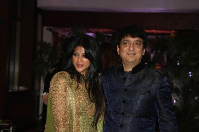 Producer Sajid Nadiadwala with wife Wardha at Wedding ...