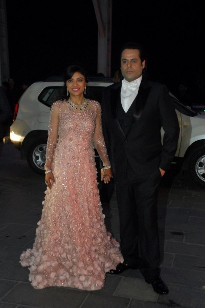 Shirin Morani with husband Uday Singh at their wedding reception