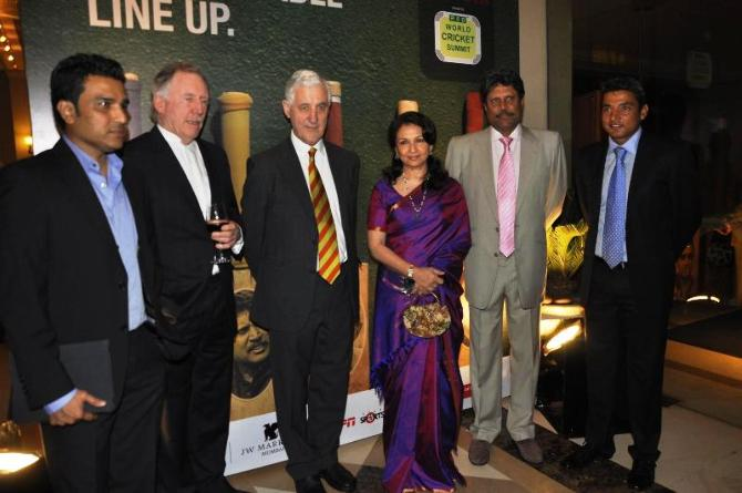 Sanjay Manjrekar, left, with Ian Chappell, Mike Brearley, Sharmila Tagore, Kapil Dev and Ajay Jadeja at the Raj Singh Dungarpur World Cricket Summit In Mumbai, December 20, 2011