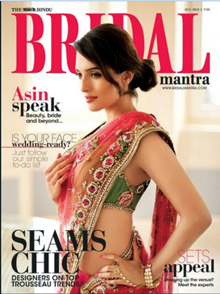 Asin Hindu Bridal Magazine September 2012 Cover Page Photo
