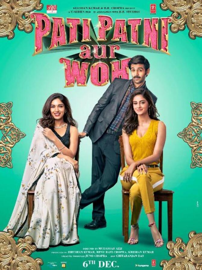 Kartik Aaryan  Bhumi Pednekar and Ananya Panday New posters of Pati Patni Aur Woh movie