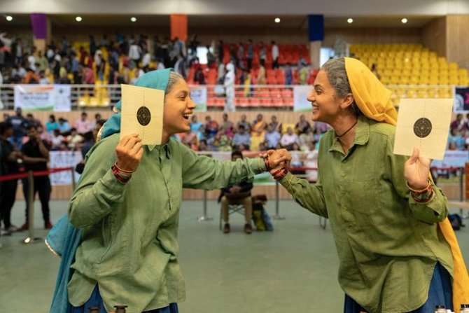 Taapsee Pannu and Bhumi Pednekar On National Sports Day  Movie glimpse from Saand Ki Aankh