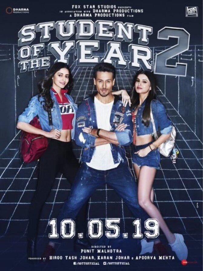 Student of the Year 2 New Poster Tiger Shroff  Ananya Panday and Tara Sutaria