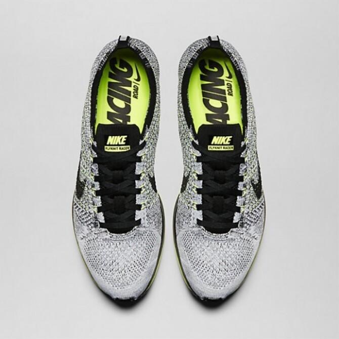 4637406f3e26 Nike Flyknit Racer Men Shoes From Running Black Volt White 526628 007 526