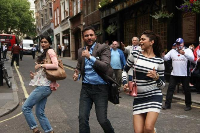 Saif Ali Khan Diana Penty and Deepika Padukone in Cocktail Movie Photo
